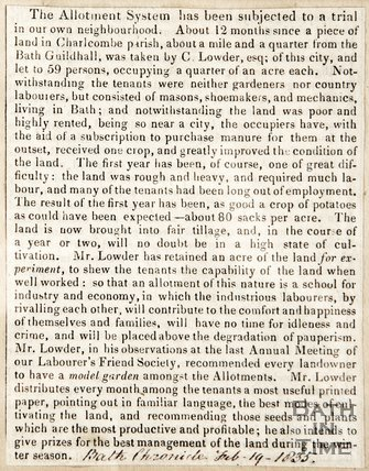 Newspaper article celebrating a successful allotment system in Charlcombe parish. 1835
