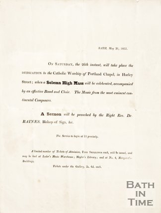 Pamphlet announcing Solemn High Mass in Portland Chapel, Harley Street Bath. 1832