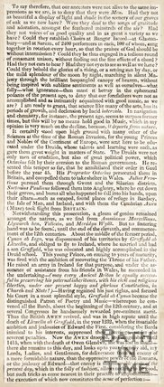 Newspaper article 'Copy of the address on Welsh Music' by Rev. J. Bowen. 1821.