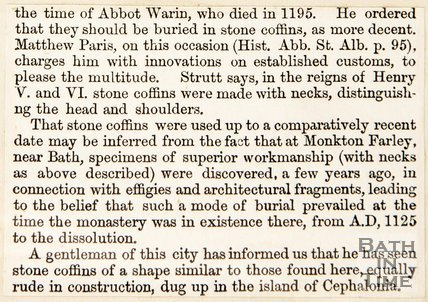 Newspaper article concerning the discovery of ancient coffins. 1852.