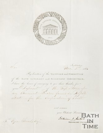 Receipt from the Bath Literary Institution to Ezra Hunt for the donation of an ancient quern. 1854.