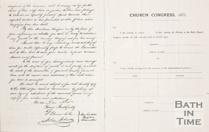 A pamphlet of the Church Congress, 1873. Verso.