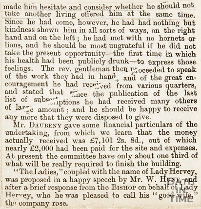 Newspaper article entitled 'Laying the foundation stone of St Andrews church.' 1870.
