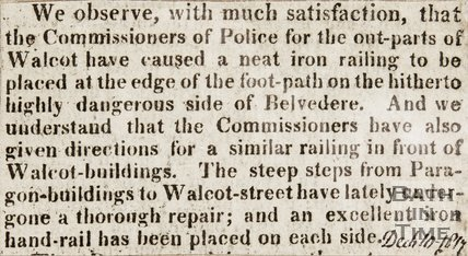 Newspaper article concerning iron railings by Belvedere House. 1817.