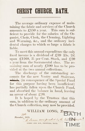 Pamphlet asking for subscriptions for new church fabrics, Christ Church. 1823.