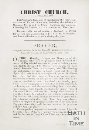 Poster showing the order of service for Christ Church, Walcot. 1857