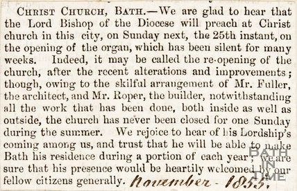 Newspaper article detailing the special service at Christ Church celebrating the reopening of the organs. 1855.