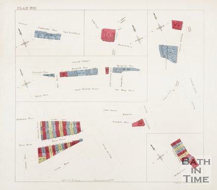 Plans of Comfortable Place, Chapel Row, Somerset Buildings, Monmouth Place, River Street and Old Kings Street. (Plan Number 5.)