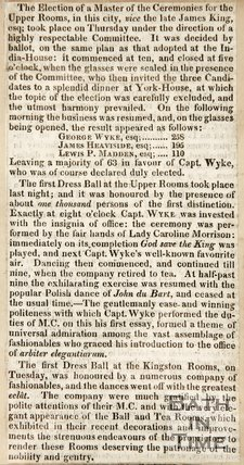 Newspaper article concerning the election of Master of Ceremonies for the Upper Rooms