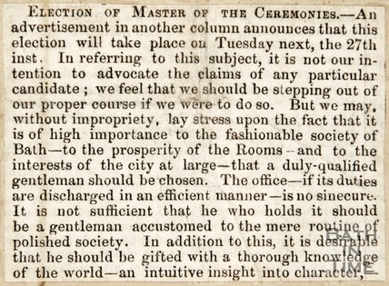 Newspaper article concerning an election for Master of Ceremonies in the Upper Assembly Rooms