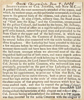 Newspaper article concerning Mr. Jervious becoming the new Master of Ceremonies at the Upper Assembly Rooms 1836