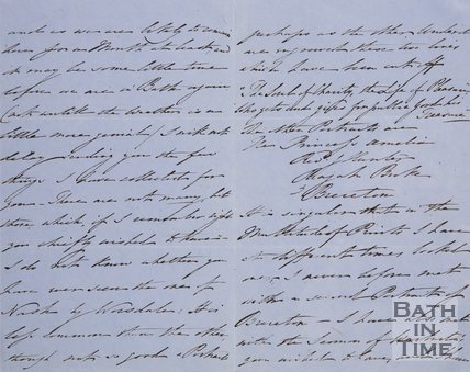 Handwritten letter from W. Calborne James? to Hunt sending him a portrait of Beau Nash by Worsdale 1856