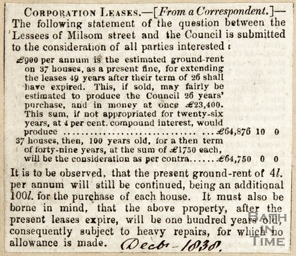 Newspaper article giving details of ground rent, 1838