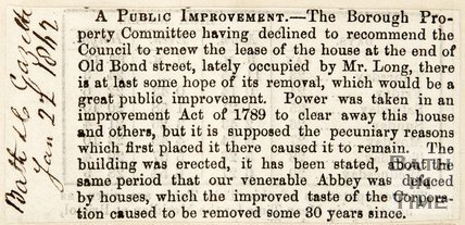 Newspaper article proposing to remove an old building at the end of Bond Street, 1862