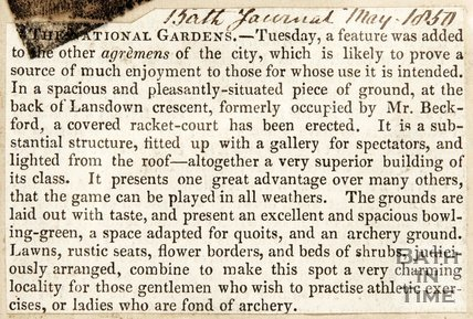 Newspaper article concerning a new racket court at the National Gardens Lansdown Crescent, 1850