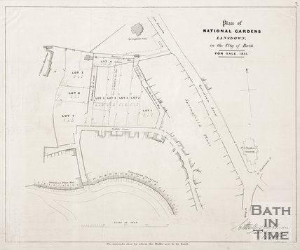 Plan of the National Gardens, Lansdown, Bath, for sale, 1855