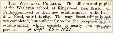 Newspaper article concerning the Wesleyan Collage Lansdown, 1851