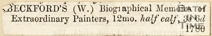 Newspaper article Beckford's Biographical Memoirs of Extraordinary Painters, 1780