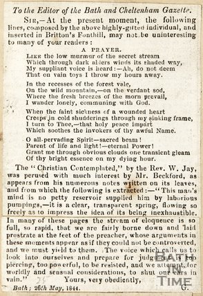 Newspaper article consisting of a prayer of interest to general readers, 1844