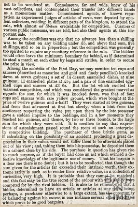 Newspaper article describing the reputation of William Beckford's Collection