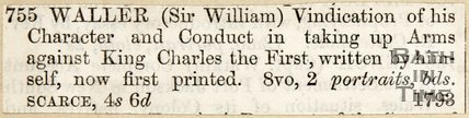 Newspaper article concerning Sir William Waller