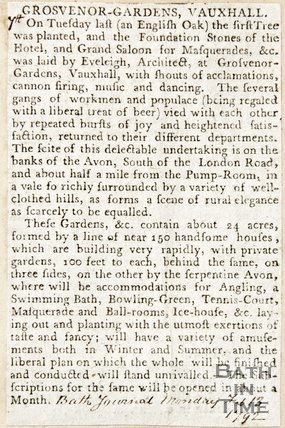 Newspaper article celebrating the plantation of an English Oak at Grosvenor Gardens, 1792