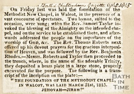 Newspaper article announcing the laying of the foundation stone of the Methodist New Chapel Walcot, 1815