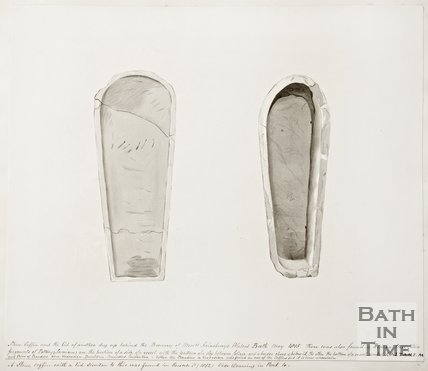 Sketch of stone coffin and lid found behind the brewery of Messrs Sainsburys of Walcot Bath, 1815