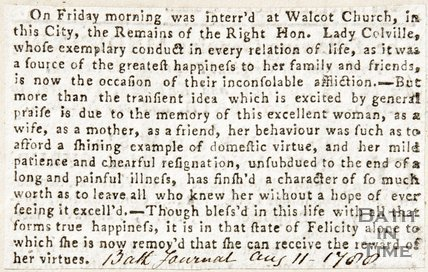 Newspaper article concerning the funeral of the Right Honourable Lady Coleville at Walcot Church, 1788