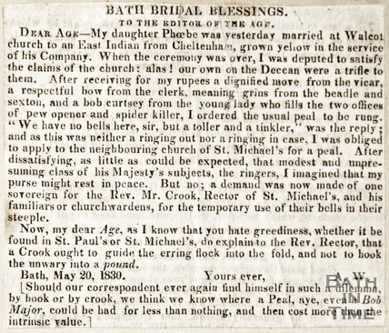 A letter to the editor complaining of a lack of church bells at Walcot, 1830
