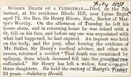 Newspaper article announcing the sudden death of Rev. Sir Henry Rivers, 1857