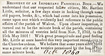 Newspaper article regarding the recovery of an old minute book of the vestry of Walcot, 1840