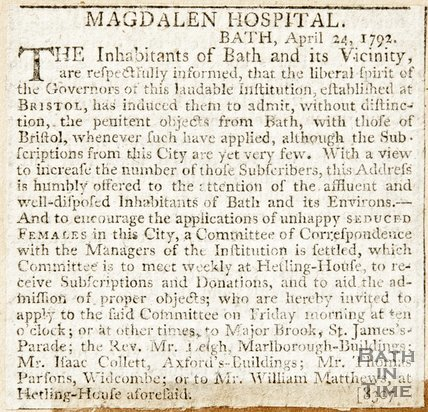 Newspaper article announcing the establishment of the Magdalen Hospital Governors, 1792