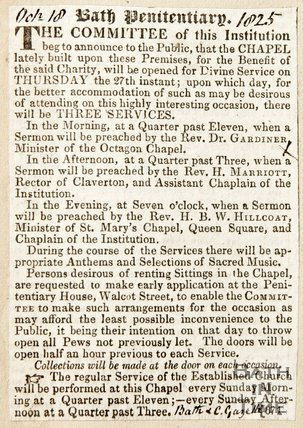 Newspaper article announcing the opening of the chapel at Bath Penitentiary, 1825