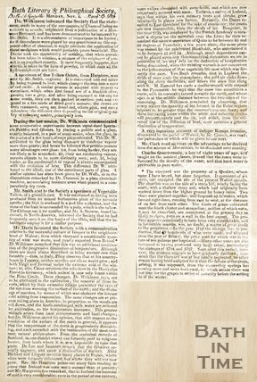 Newspaper article noting various discussions of the Bath Literary and Philosophical Society, 1816