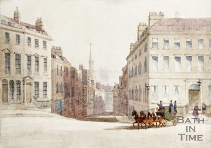 Watercolour showing view from George Street looking down Broad Street towards the Abbey