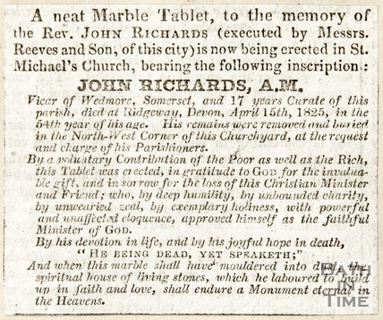 Newspaper article regarding a marble tablet to be erected in the memory of Rev. John Richards at St. Michael's Church.