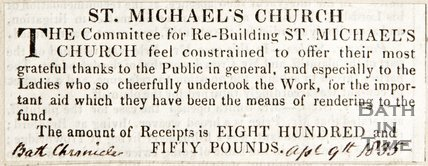 Newspaper article expressing thanks for contributions towards the new St Michael's Church, 1835
