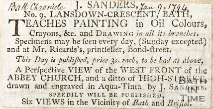 Newspaper article advertising J. Sanders' painting lessons, 1794