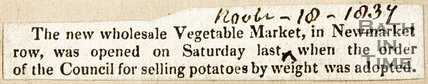 Newspaper article announcing opening of the New Wholesale Vegetable Market in New Market Row, 1834