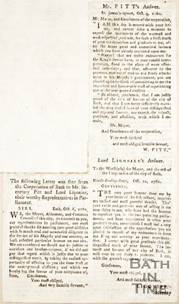 Newspaper article containing a letter from Mayor, Alderman and Council of Bath thanking Mr. Secretary Pitt and Lord Ligonier for their services in parliament, 1720