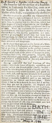 Newspaper article announcing the election of Sir R.P. Arden, Master of the Rolls as a representative in Parliament for Bath, 1794