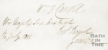 Handwritten note to Admiral Carroll announcing His Majesties ship had landed at Port Royal Jamaica, 1801