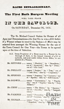 Leaflet announcing the first Bath Burgess meeting at Saw Close on Saturday 26th December 1835.