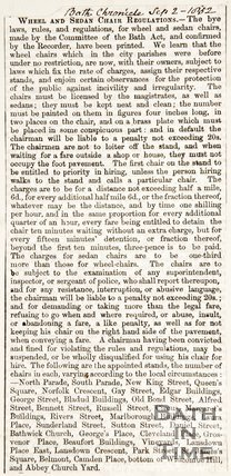 Newspaper article announcing the printing of the by-laws regarding wheel and sedan chair regulations, 1852
