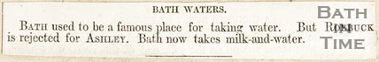 Article suggesting that Bath used to be famous for its water but is now famous for its milk and water by Roebuck.