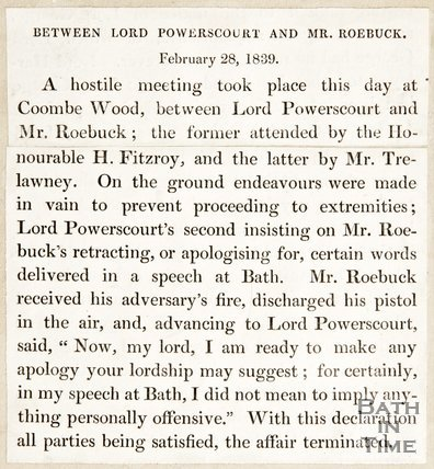 Newspaper article regarding the meeting between Mr Roebuck and Lord Power's Court