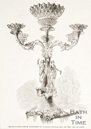 Image of the Silver Candelarbrum presented to Viscount Duncan M.P. by the City of Bath