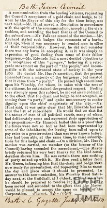 Newspaper article describing Bath town council's acceptance of a gold chain and badge to be worn by the Mayor, 1850