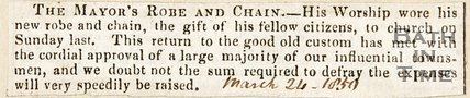 Newspaper article concerning the Mayor's robe and chain, 1850